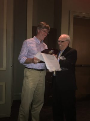 Jack Kelly presenting Founder's Award to Dr. Cameron Trenor